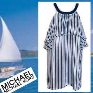 Blue White Top MICHAEL KORS  Stripe Halter NWT